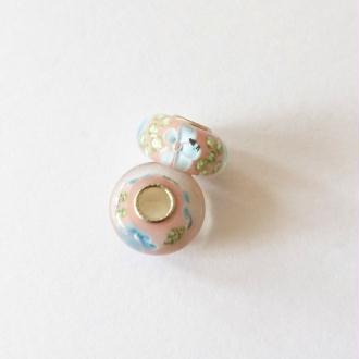 1 perle lampwork verre charm verre de Murano 14 mm FLEUR BLEUE II