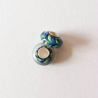 1 perle lampwork verre charm verre de Murano 14 mm CHAMARE VERT BLEU