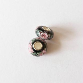 1 perle lampwork verre charm verre de Murano 14 mm FLEUR ROSE FOND NOIR