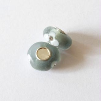 1 perle lampwork verre charm verre de Murano 14 mm FLEUR STRASS FOND GRIS