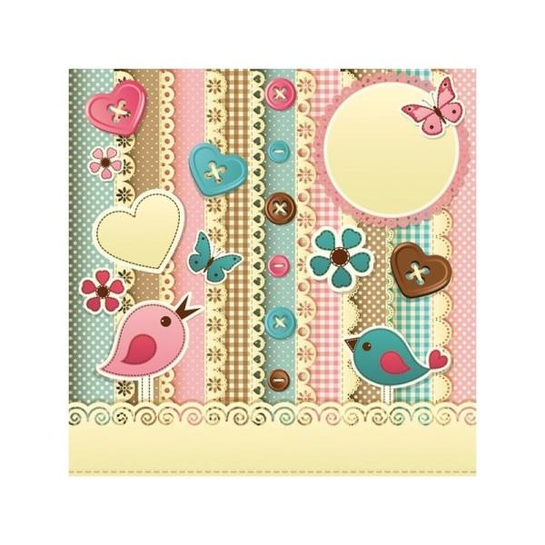 4 serviettes en papier découpage collage 33 cm ELEMENTS SCRAPBOOKING D113 - Photo n°1