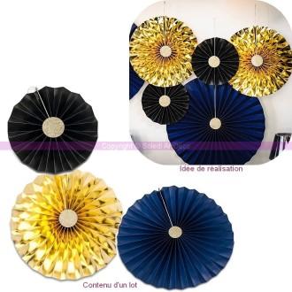 Lot de 3 Rosaces en Papier coloris Noir, Bleu et Or, dim. 21cm-31cm-44cm, à suspendre pour un