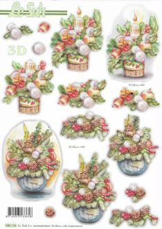 Feuille 3D pré-découpée A4 Bouquet de Noël
