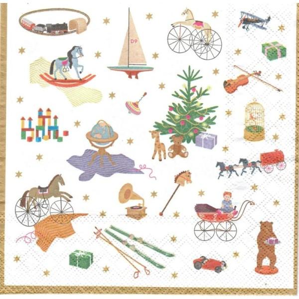 4 Serviettes en papier Symboles de Noël Format Lunch - Photo n°1