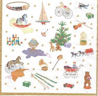 4 Serviettes en papier Symboles de Noël Format Lunch