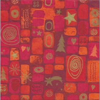 4 Serviettes en papier Noël décor mosaïque Format Lunch