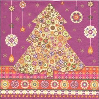 4 Serviettes en papier Sapin de Noël oriental  Format Lunch