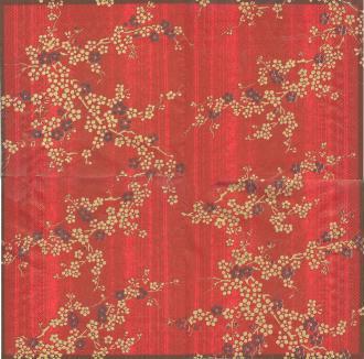4 Serviettes en papier Fleurs Asie Hanami Format Lunch