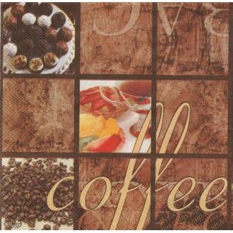 4 Serviettes en papier Café et douceurs Format Cocktail