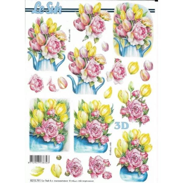 Feuille 3D à découper A4 Tulipe Rose Fleur - Photo n°1