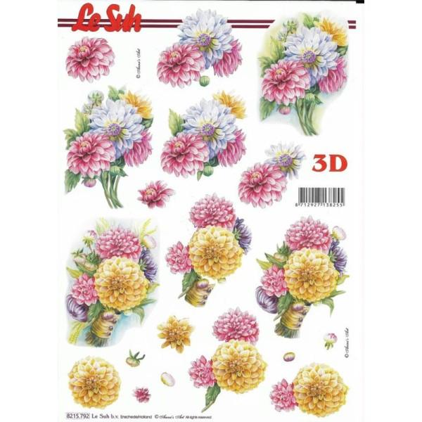 Feuille 3D à découper A4 Fleur Dalhia - Photo n°1