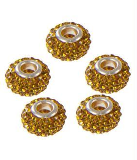 Perles shamballa rondes soucoupes strass cristal 5 pièces - 12 mm de diamètre Doré