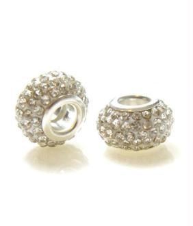 Perles shamballa rondes soucoupes strass cristal 5 pièces - 14 mm de diamètre Blanc