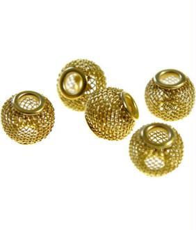 Perles metal tressé boules treillis 12 mm (5 pièces) Doré