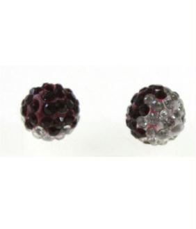 Perles shamballa rondes bicolores dégradées 12 mm (5 pièces) Bordeaux