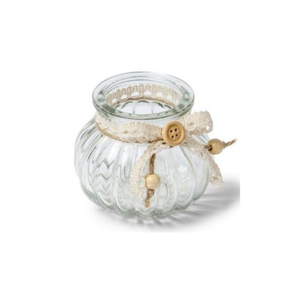 Vase en verre rond décor jute et dentelle - Photo n°1