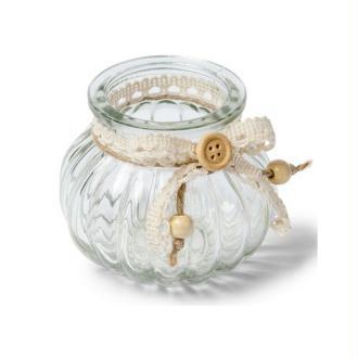 Vase en verre rond décor jute et dentelle