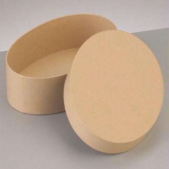 Grande boite Ovale Haute Dimension 16,5x10,5cm x Haut. 8cm avec couvercle en carton, à d&eacu