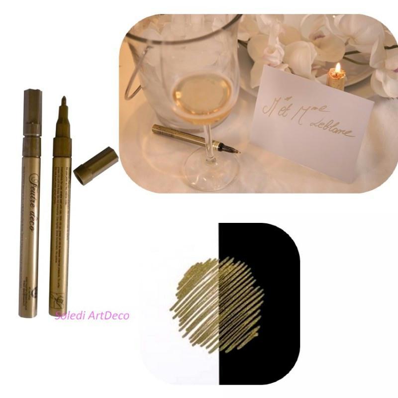 Stylo feutre encre couleur or pour marque place papier for Ardoise pour cuisine