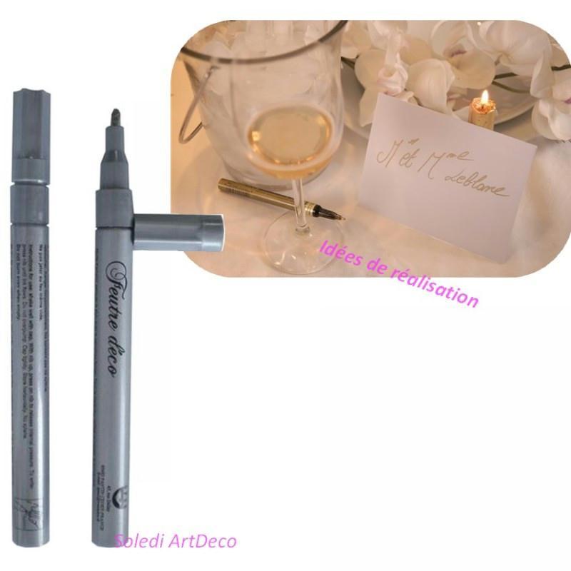 stylo feutre encre couleur argent pour marque place