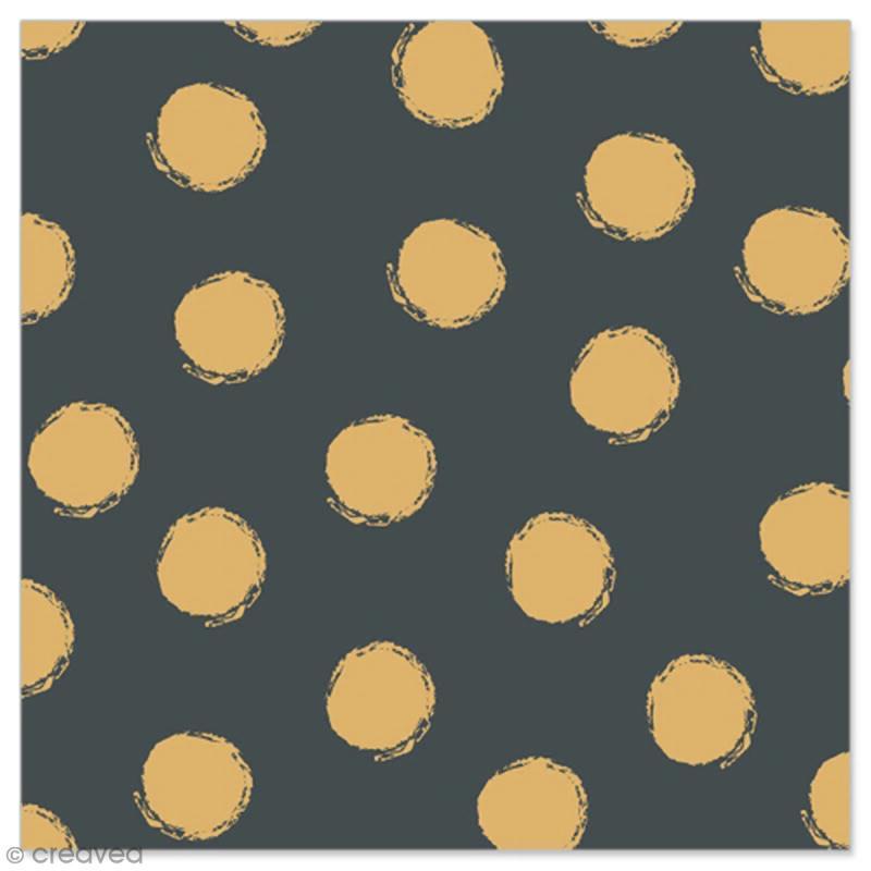 Serviette en papier - Pois dorés sur fond noir - 20 pcs - Photo n°1