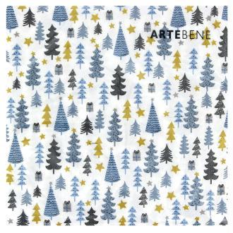 Serviette en papier - Sapins bleus et dorés sur fond blanc - 20 pcs