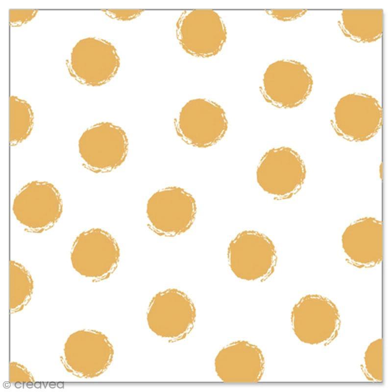 Serviette en papier - Pois dorés sur fond blanc - 20 pcs - Photo n°1