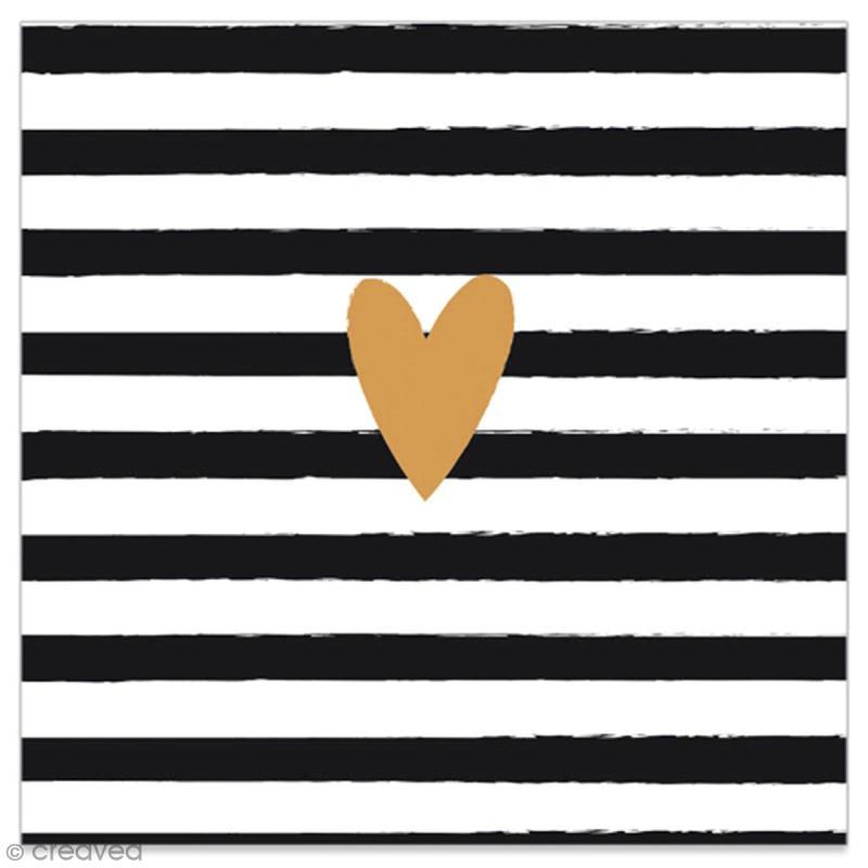 serviette en papier coeur dor sur fond ray noir et blanc 20 pcs serviette en papier en. Black Bedroom Furniture Sets. Home Design Ideas
