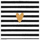 Serviette en papier - Coeur doré sur fond rayé noir et blanc - 20 pcs