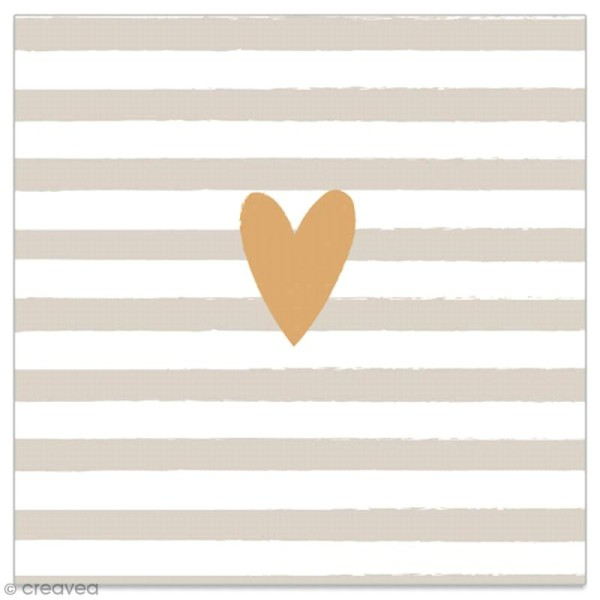 Serviette en papier - Coeur doré sur fond rayé gris et blanc - 20 pcs - Photo n°1
