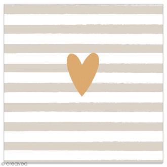 Serviette en papier - Coeur doré sur fond rayé gris et blanc - 20 pcs