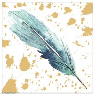 Serviette en papier - Plume bleue sur fond doré et blanc - 20 pcs