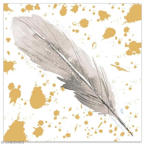 Serviette en papier - Plume grise sur fond doré et blanc - 20 pcs - Photo n°1
