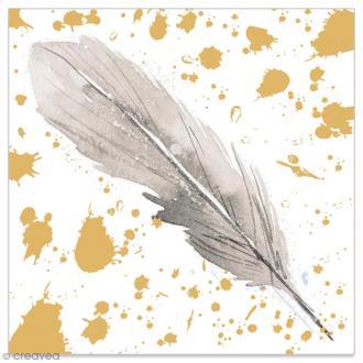 Serviette en papier - Plume grise sur fond doré et blanc - 20 pcs