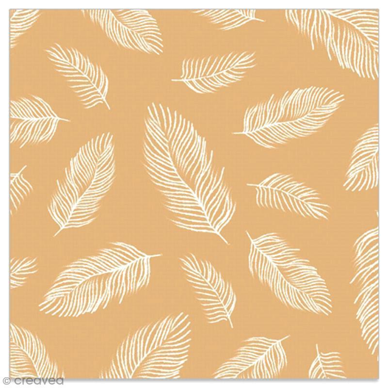 Serviette en papier - Plumes blanches sur fond doré - 20 pcs - Photo n°1
