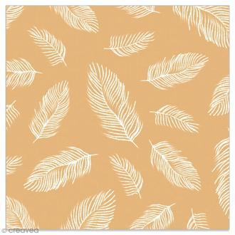 Serviette en papier - Plumes blanches sur fond doré - 20 pcs