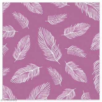 Serviette en papier - Plumes blanches sur fond violet - 20 pcs