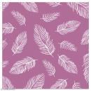 Serviette en papier - Plumes blanches sur fond violet - 20 pcs - Photo n°1