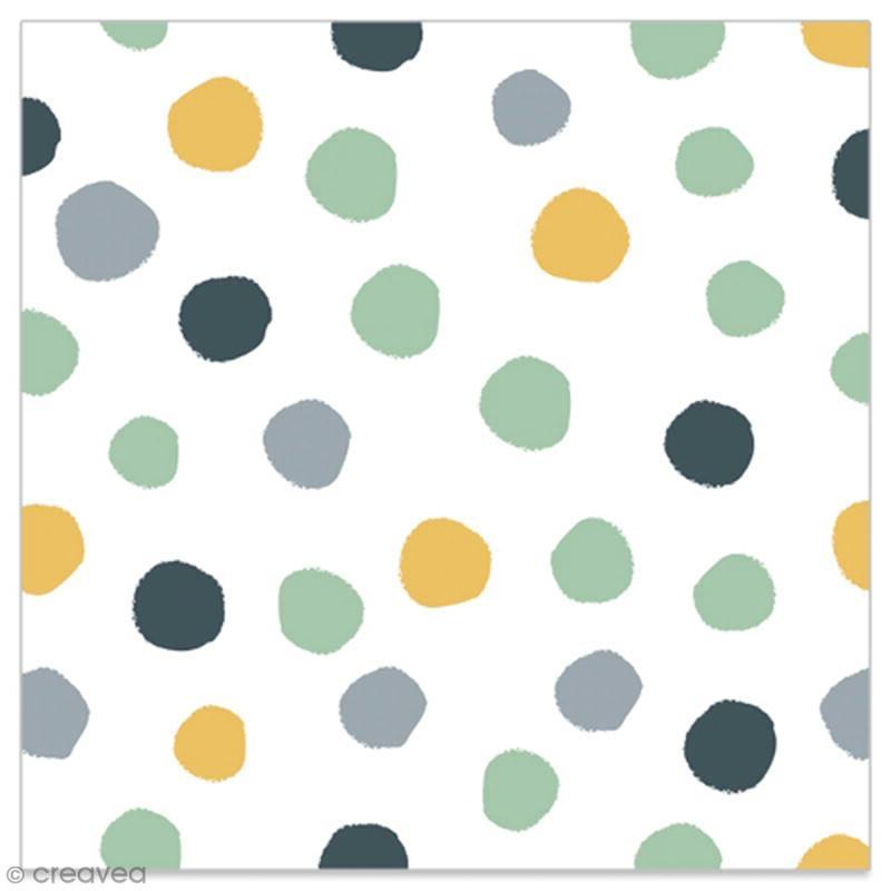 Serviette en papier - Pois dorés, gris, noirs et vert d'eau sur fonc blanc - 20 pcs - Photo n°1