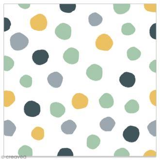 Serviette en papier - Pois dorés, gris, noirs et vert d'eau sur fonc blanc - 20 pcs