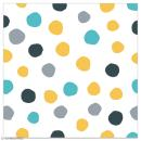 Serviette en papier - Pois dorés, gris, noirs et bleu turquoise sur fond blanc - 20 pcs - Photo n°1