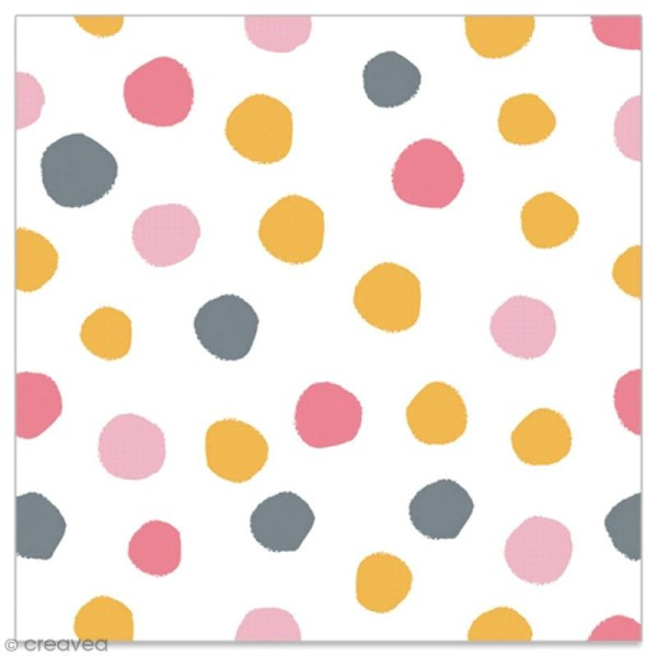 Serviette en papier - Pois dorés, gris, rose clair et rose foncé sur fond blanc - 20 pcs - Photo n°1