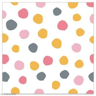 Serviette en papier - Pois dorés, gris, rose clair et rose foncé sur fond blanc - 20 pcs