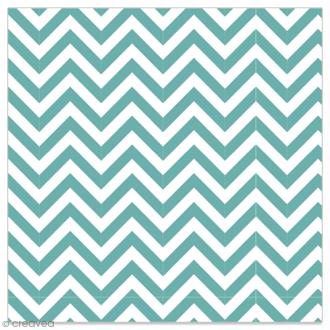 Serviette en papier - Chevrons bleu turquoise sur fond blanc - 20 pcs
