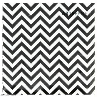 Serviette en papier - Chevrons noirs sur fond blanc - 20 pcs