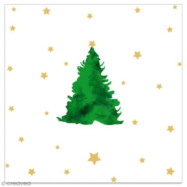 Serviette en papier - Sapin vert et étoiles dorées sur fond blanc - 20 pcs - Photo n°1