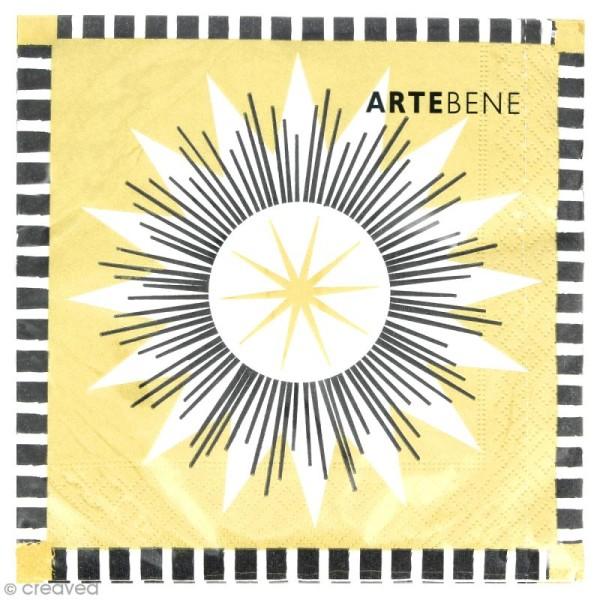 Serviette en papier - Grande étoile à 9 branches blanche, dorée et noire - 20 pcs - Photo n°1