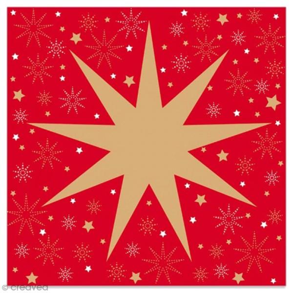 Serviette en papier - Grande étoile à 9 branches dorée sur fond rouge - 20 pcs - Photo n°1