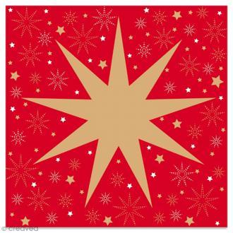 Serviette en papier - Grande étoile à 9 branches dorée sur fond rouge - 20 pcs
