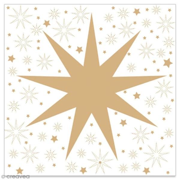 Serviette en papier - Grande étoile dorée sur fond blanc - 20 pcs - Photo n°1